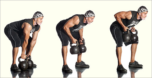 Double Kettlebell Bent Over Row