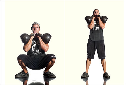 Double Kettlebell Front Squat