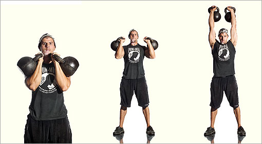 Double Kettlebell Military Press