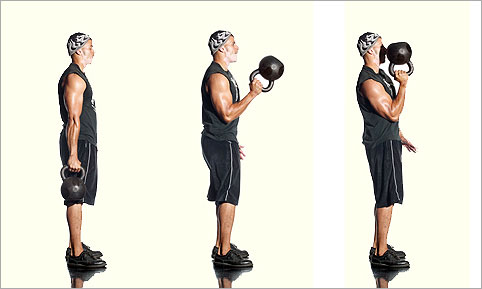 One Arm Kettlebell Bottom Up Clean Hang Position